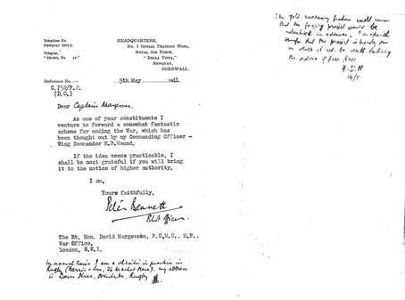 Letter to Capt. Margesson, MP, 5th May 1941 from a Pilot Officer Proposing